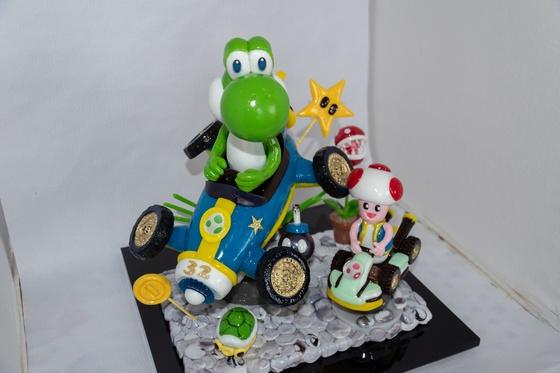 Geburtstagskuchen Dekoration 2018 - Yoshi & Toad - 018