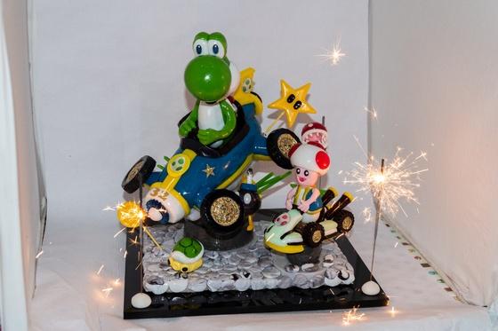 Geburtstagskuchen Dekoration 2018 - Yoshi & Toad - 020