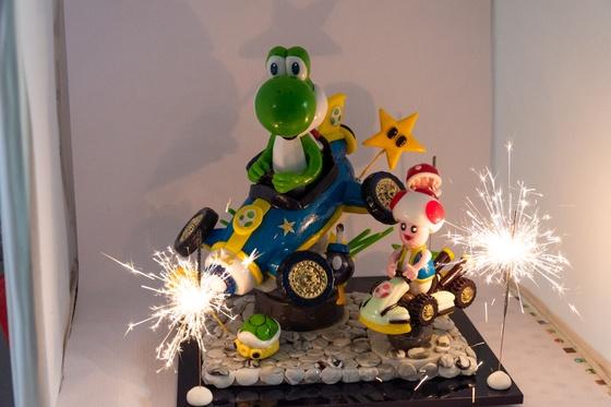 Geburtstagskuchen Dekoration 2018 - Yoshi & Toad - 021