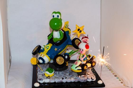 Geburtstagskuchen Dekoration 2018 - Yoshi & Toad - 022