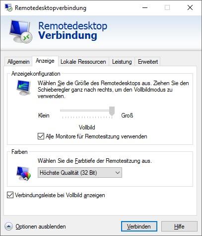RDP - Tab Anzeige